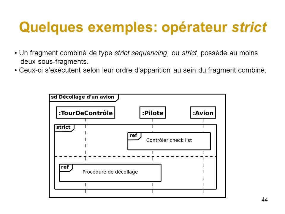 44 Quelques exemples: opérateur strict Un fragment combiné de type strict sequencing, ou strict, possède au moins deux sous-fragments. Ceux-ci sexécut