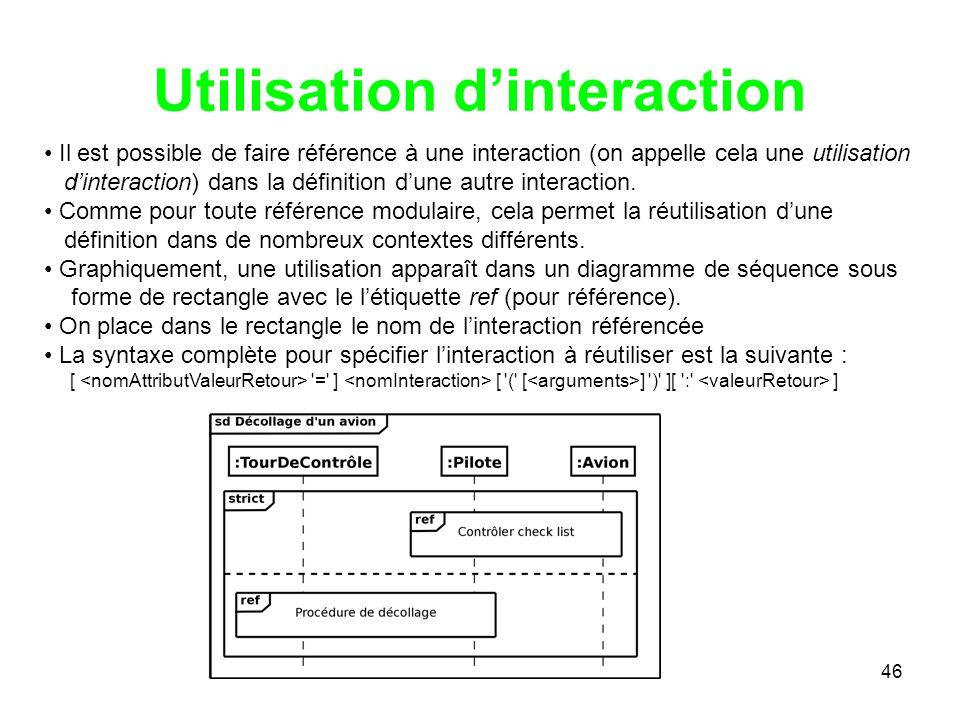 46 Utilisation dinteraction Il est possible de faire référence à une interaction (on appelle cela une utilisation dinteraction) dans la définition dune autre interaction.