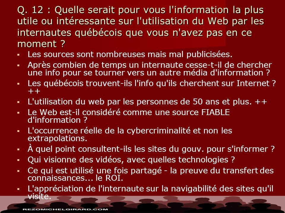 Q. 12 : Quelle serait pour vous l'information la plus utile ou intéressante sur l'utilisation du Web par les internautes québécois que vous n'avez pas
