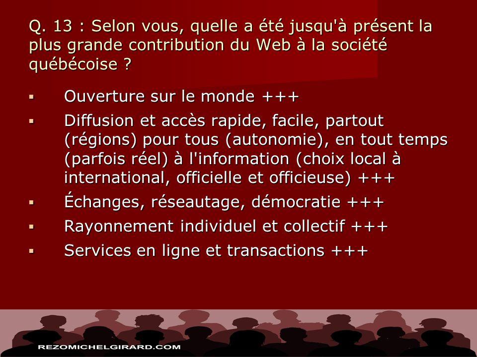 Q. 13 : Selon vous, quelle a été jusqu'à présent la plus grande contribution du Web à la société québécoise ? Ouverture sur le monde +++ Ouverture sur