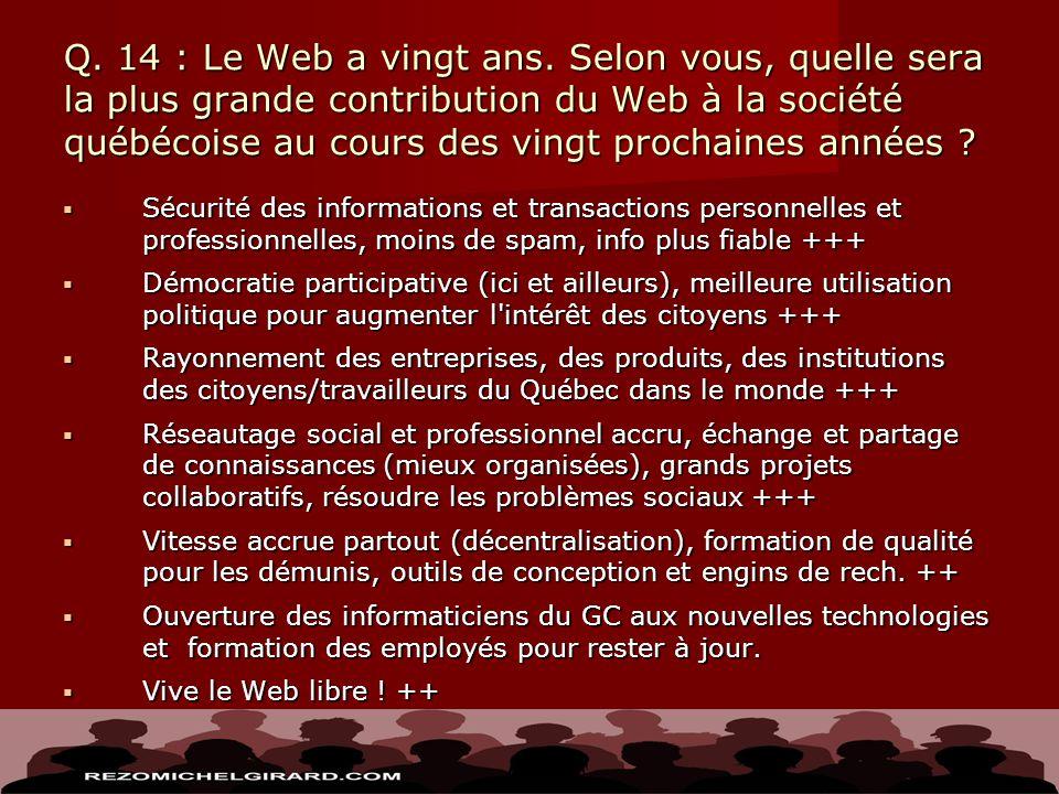 Q. 14 : Le Web a vingt ans. Selon vous, quelle sera la plus grande contribution du Web à la société québécoise au cours des vingt prochaines années ?