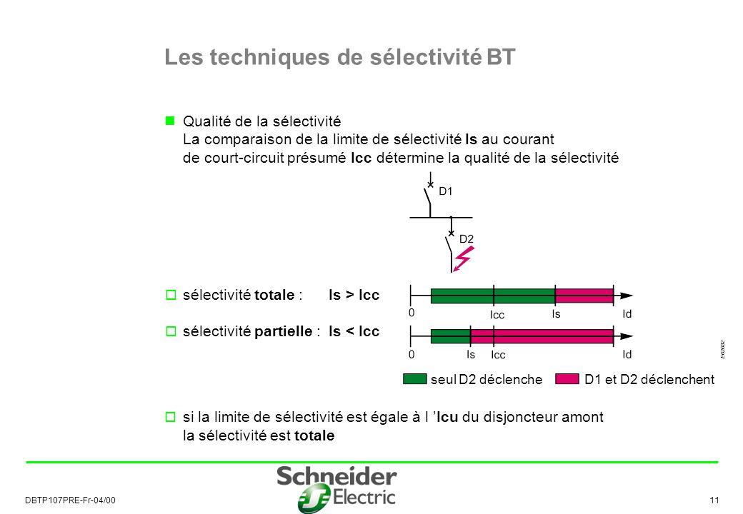 DBTP107PRE-Fr-04/00 11 Qualité de la sélectivité La comparaison de la limite de sélectivité Is au courant de court-circuit présumé Icc détermine la qualité de la sélectivité sélectivité totale : Is > Icc sélectivité partielle : Is < Icc si la limite de sélectivité est égale à l Icu du disjoncteur amont la sélectivité est totale Les techniques de sélectivité BT seul D2 déclencheD1 et D2 déclenchent E62682
