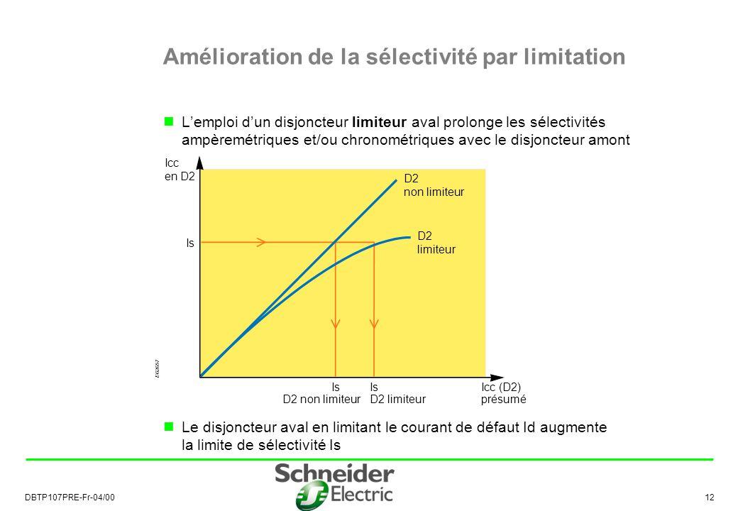 DBTP107PRE-Fr-04/00 12 Lemploi dun disjoncteur limiteur aval prolonge les sélectivités ampèremétriques et/ou chronométriques avec le disjoncteur amont Le disjoncteur aval en limitant le courant de défaut Id augmente la limite de sélectivité Is Amélioration de la sélectivité par limitation E62657 D2 non limiteur D2 limiteur Icc en D2 Icc (D2) présumé Is D2 limiteurD2 non limiteur Is