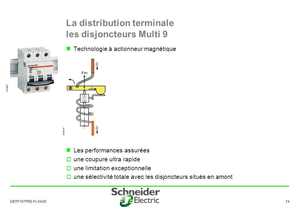 DBTP107PRE-Fr-04/00 14 La distribution terminale les disjoncteurs Multi 9 Technologie à actionneur magnétique Les performances assurées une coupure ultra rapide une limitation exceptionnelle une sélectivité totale avec les disjoncteurs situés en amont E62674 031887