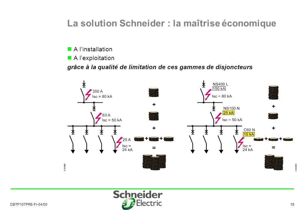 DBTP107PRE-Fr-04/00 16 La solution Schneider : la maîtrise économique A linstallation A lexploitation grâce à la qualité de limitation de ces gammes de disjoncteurs E43481E43480