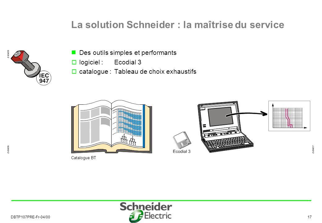 DBTP107PRE-Fr-04/00 17 La solution Schneider : la maîtrise du service Des outils simples et performants logiciel :Ecodial 3 catalogue :Tableau de choix exhaustifs E43477 E43478 E43476 Catalogue BT
