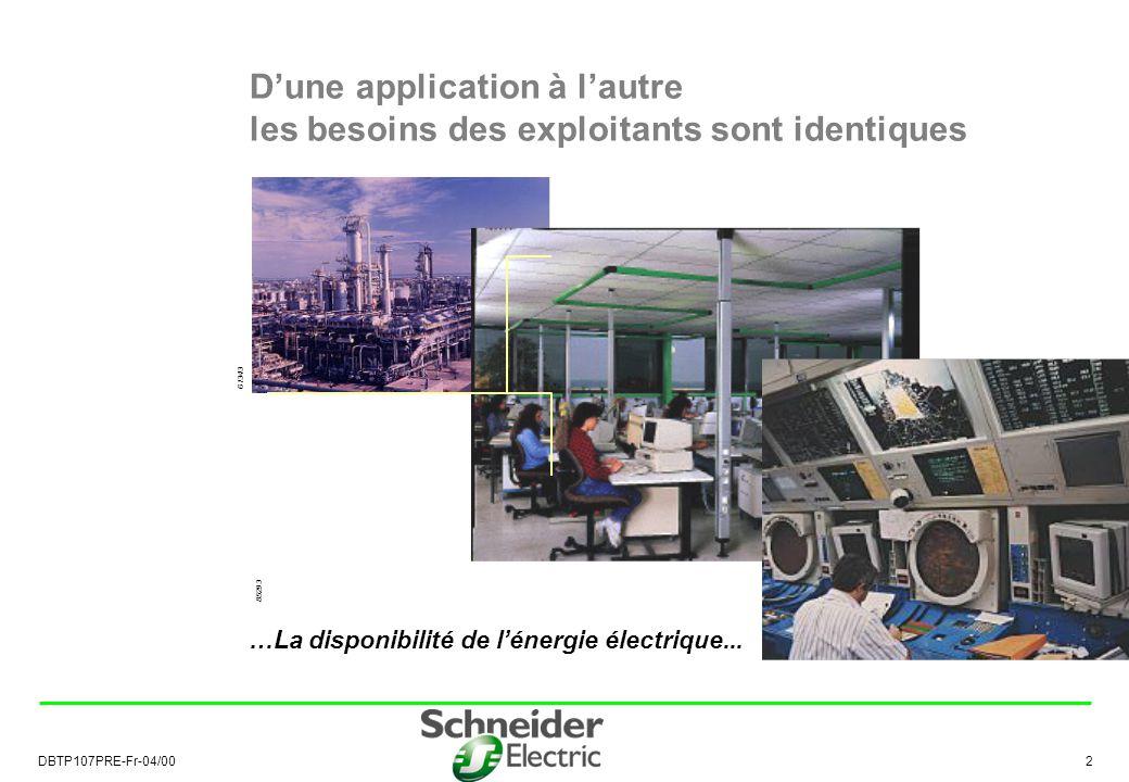 DBTP107PRE-Fr-04/00 3 La disponibilité de lénergie électrique Économie pour lexploitant par : la continuité de lalimentation électrique le coût optimisé de son installation …Une source de profits pour lexploitant...