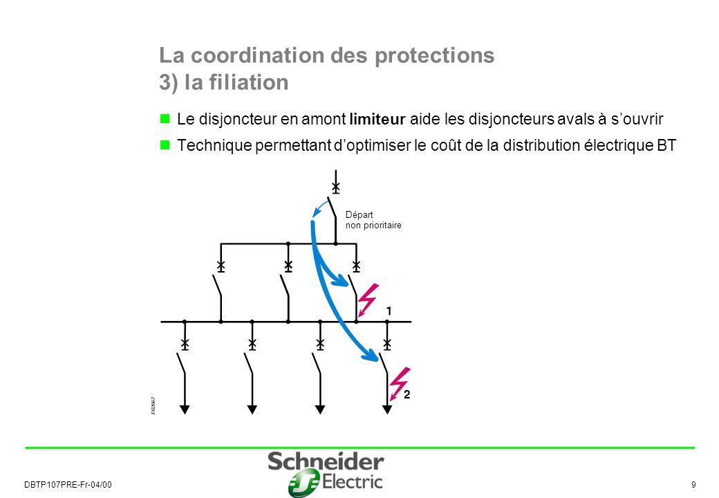 DBTP107PRE-Fr-04/00 9 La coordination des protections 3) la filiation Le disjoncteur en amont limiteur aide les disjoncteurs avals à souvrir Technique permettant doptimiser le coût de la distribution électrique BT E62667 Départ non prioritaire
