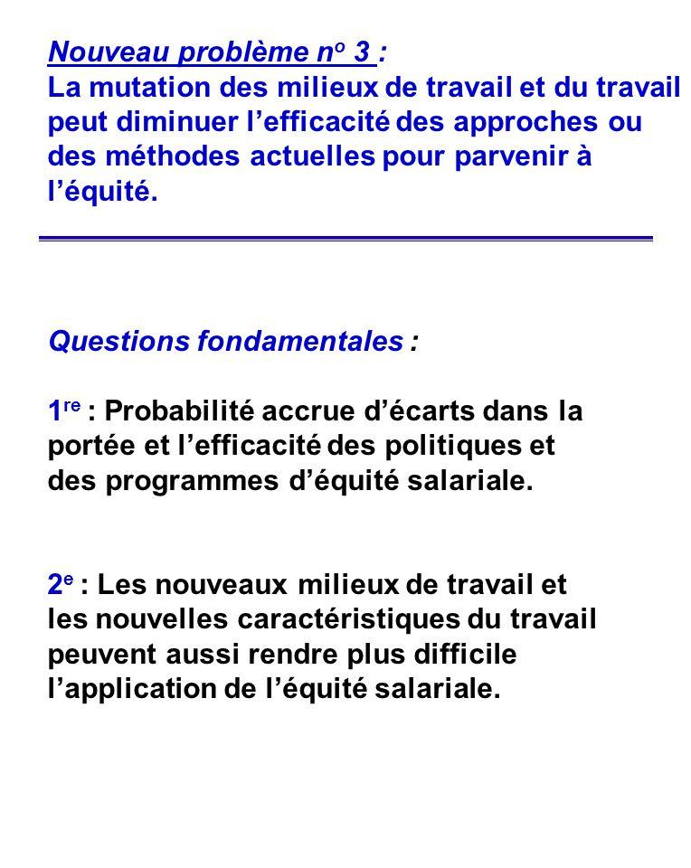 Questions fondamentales : 1 re : Probabilité accrue décarts dans la portée et lefficacité des politiques et des programmes déquité salariale. 2 e : Le