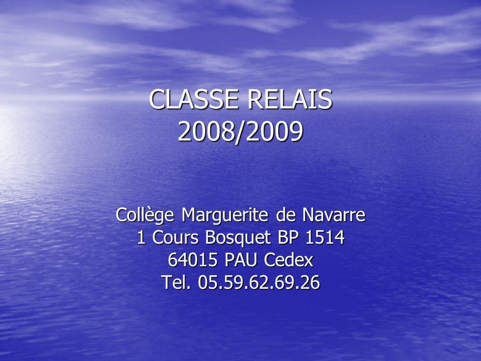CLASSE RELAIS 2008/2009 Collège Marguerite de Navarre 1 Cours Bosquet BP 1514 64015 PAU Cedex Tel.