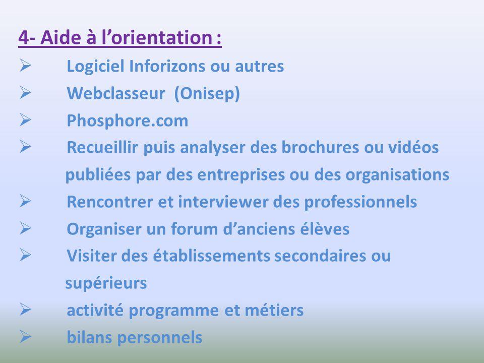4- Aide à lorientation : Logiciel Inforizons ou autres Webclasseur (Onisep) Phosphore.com Recueillir puis analyser des brochures ou vidéos publiées pa