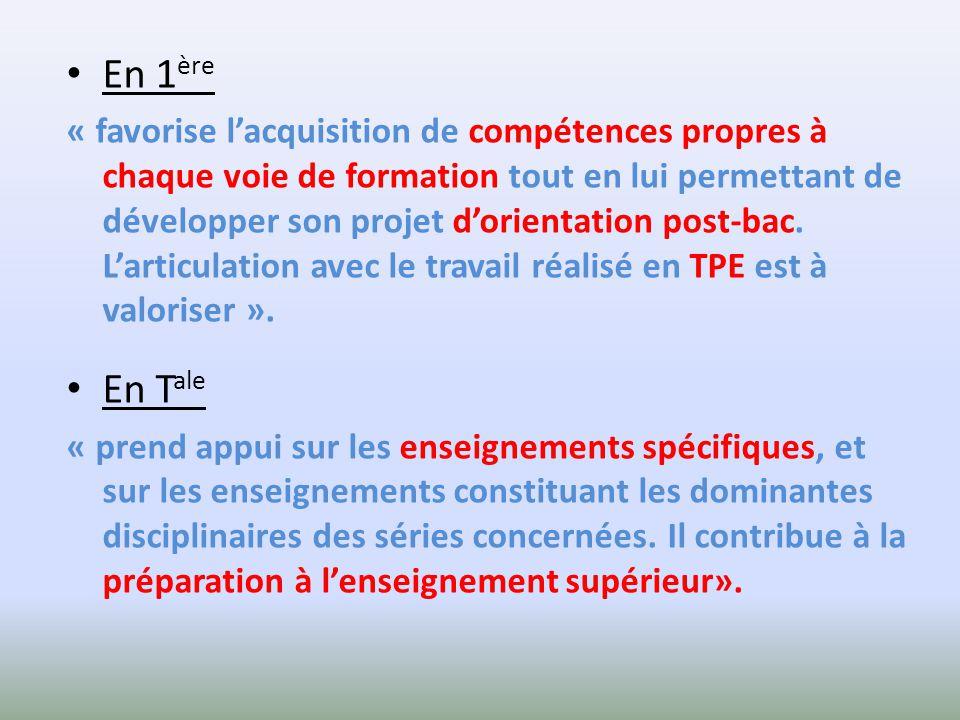En 1 ère « favorise lacquisition de compétences propres à chaque voie de formation tout en lui permettant de développer son projet dorientation post-bac.