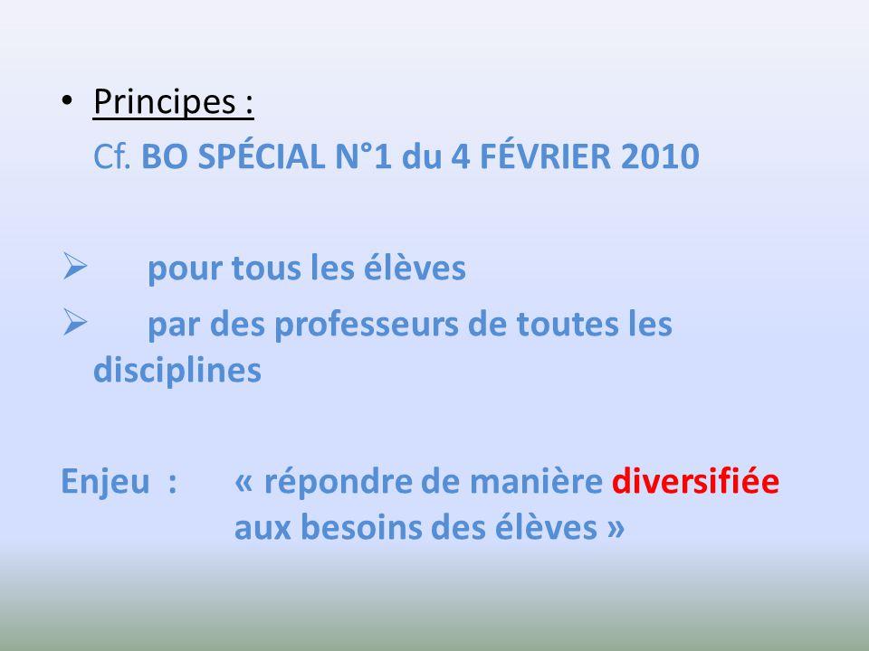 Principes : Cf. BO SPÉCIAL N°1 du 4 FÉVRIER 2010 pour tous les élèves par des professeurs de toutes les disciplines Enjeu : « répondre de manière dive