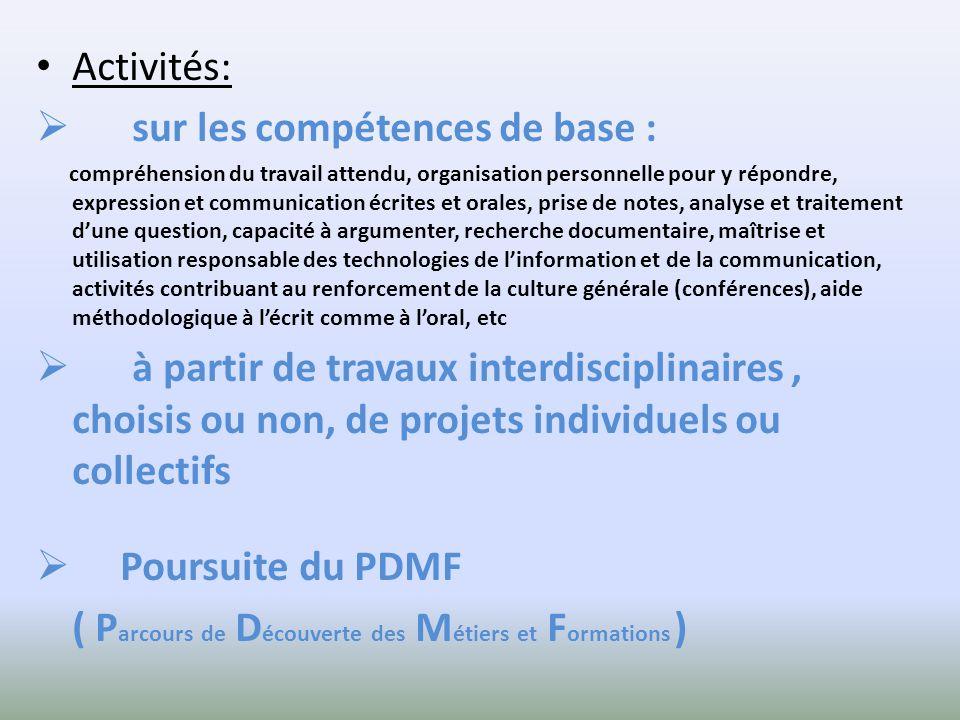 Activités: sur les compétences de base : compréhension du travail attendu, organisation personnelle pour y répondre, expression et communication écrit