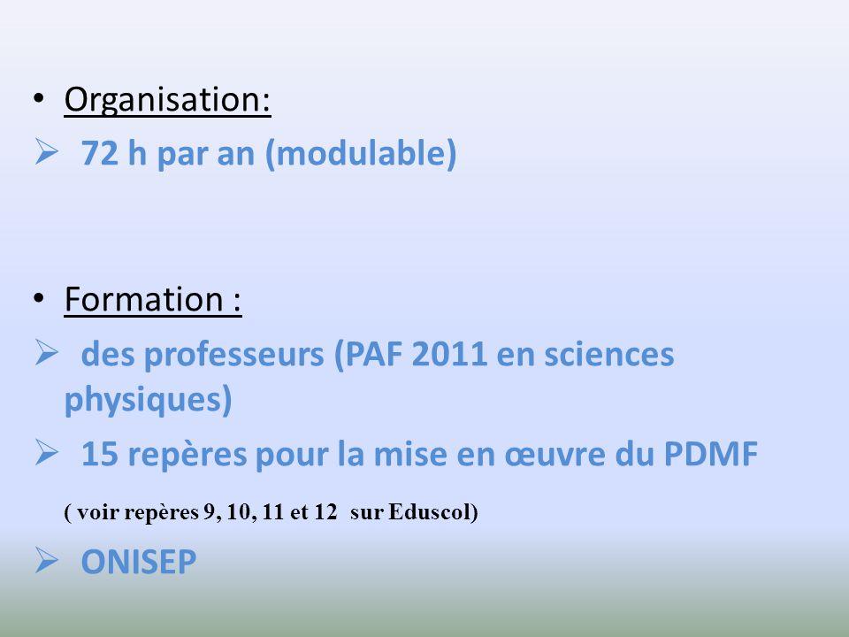 Organisation: 72 h par an (modulable) Formation : des professeurs (PAF 2011 en sciences physiques) 15 repères pour la mise en œuvre du PDMF ( voir rep