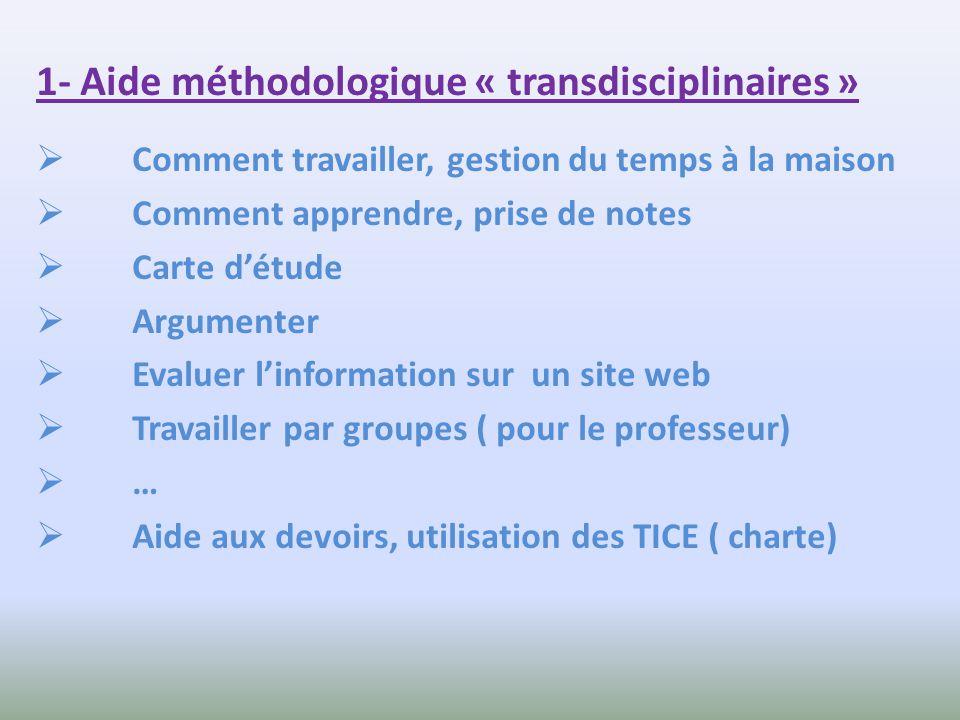 1- Aide méthodologique « transdisciplinaires » Comment travailler, gestion du temps à la maison Comment apprendre, prise de notes Carte détude Argumen