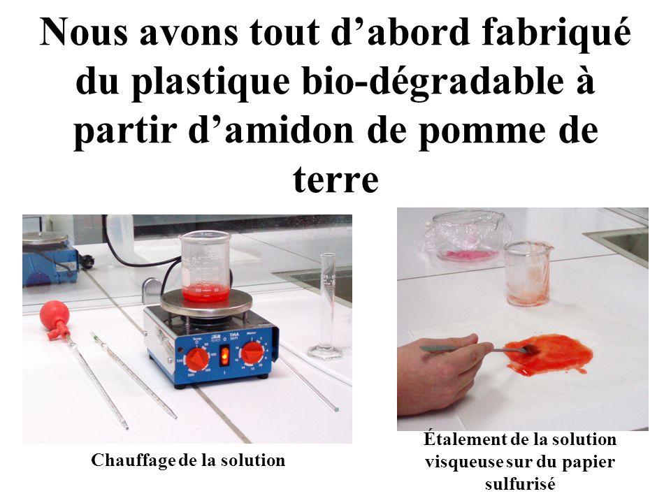 Nous avons tout dabord fabriqué du plastique bio-dégradable à partir damidon de pomme de terre Étalement de la solution visqueuse sur du papier sulfur