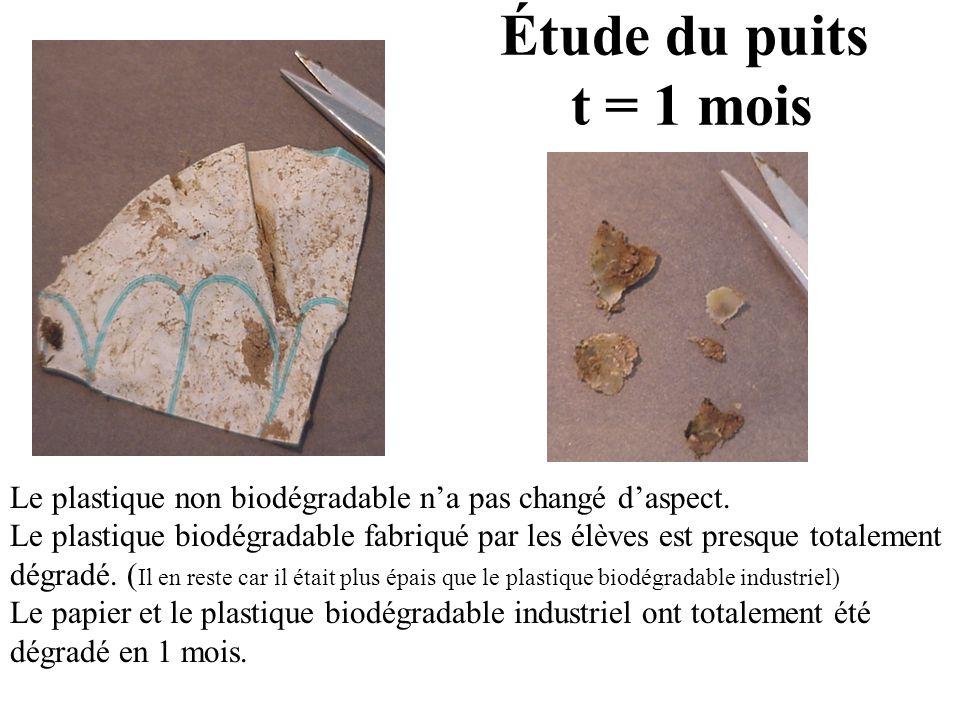 Le plastique non biodégradable na pas changé daspect. Le plastique biodégradable fabriqué par les élèves est presque totalement dégradé. ( Il en reste
