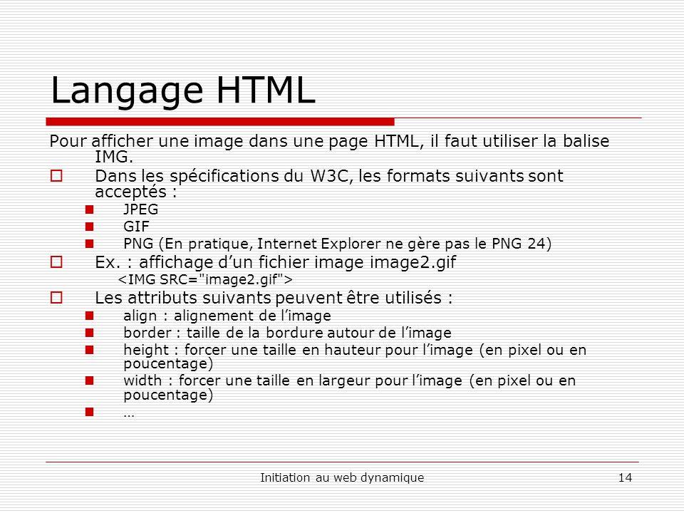 Initiation au web dynamique14 Langage HTML Pour afficher une image dans une page HTML, il faut utiliser la balise IMG.
