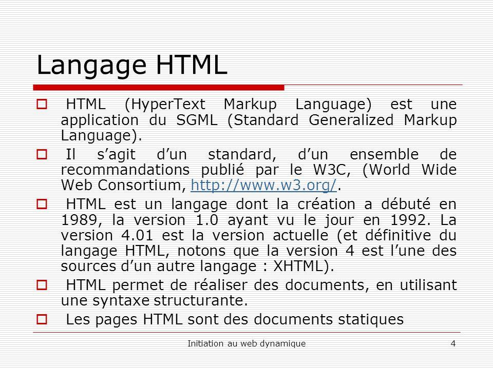 Initiation au web dynamique15 Langage HTML Les formulaires : La balise FORM Ils permettent aux visiteurs dun site de saisir et de transmettre des données aux auteurs du site.