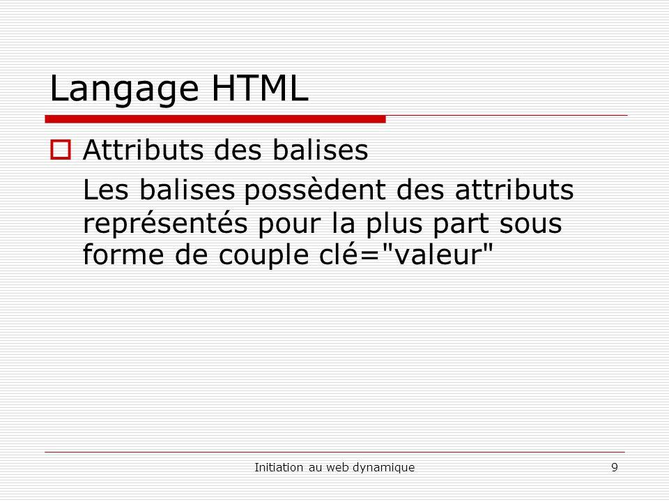 Initiation au web dynamique10 Langage HTML Caractères Spéciaux Certains caractères sont nécessaires au fonctionnement des pages HTML ( pour les balises …), il est donc nécessaire dutiliser du code HTML pour pouvoir visualiser certains caractères dans les pages HTML.