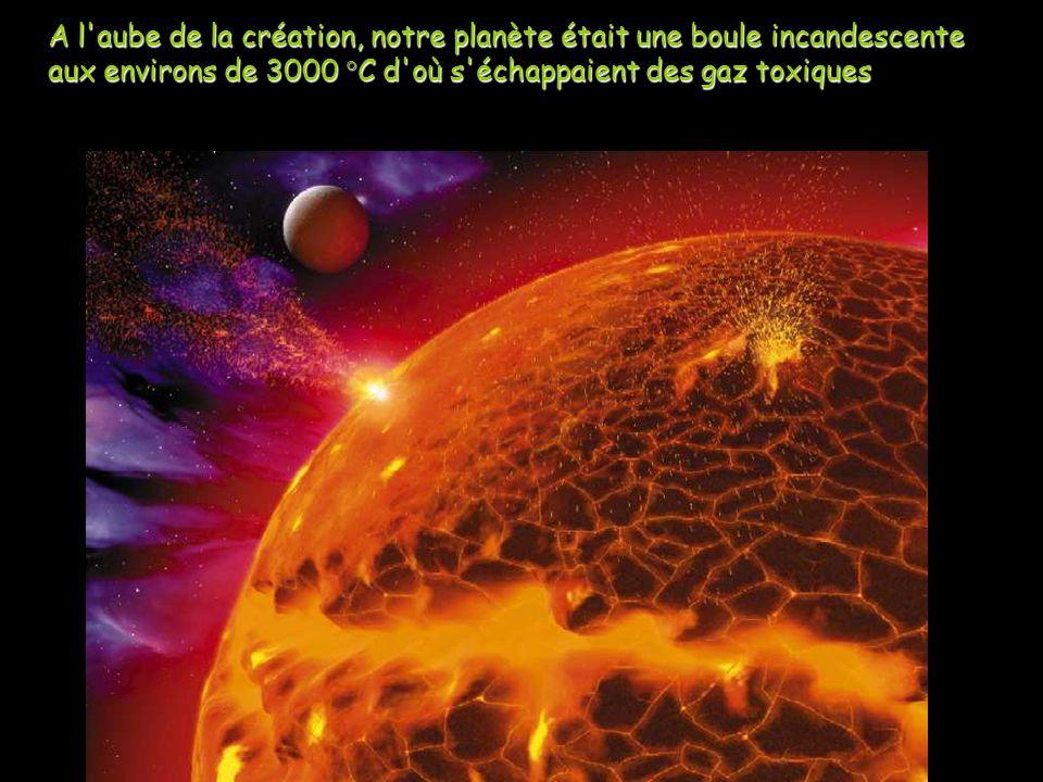 A l'aube de la création, notre planète était une boule incandescente aux environs de 3000 °C d'où s'échappaient des gaz toxiques