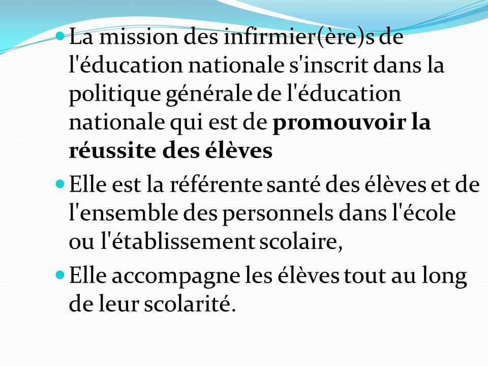 La mission des infirmier(ère)s de l'éducation nationale s'inscrit dans la politique générale de l'éducation nationale qui est de promouvoir la réussit