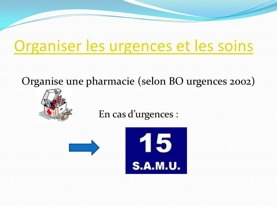 Organiser les urgences et les soins Organise une pharmacie (selon BO urgences 2002) En cas durgences :