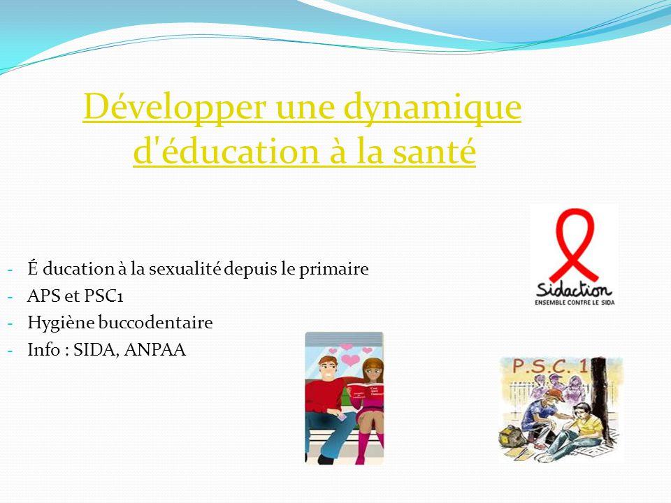 Développer une dynamique d'éducation à la santéDévelopper une dynamique d'éducation à la santé - É ducation à la sexualité depuis le primaire - APS et