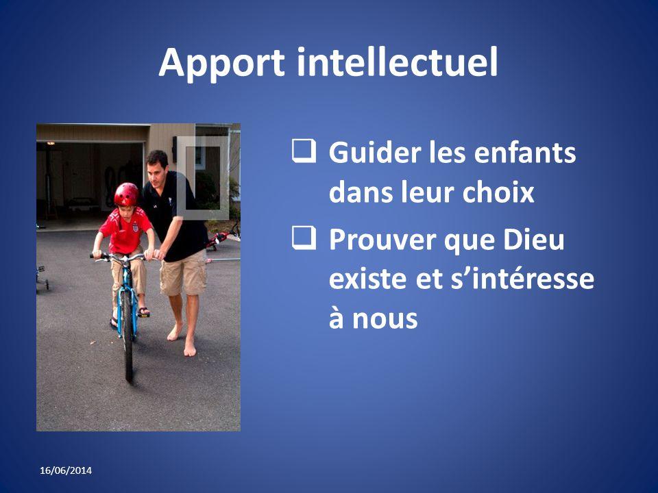 Apport intellectuel Guider les enfants dans leur choix Prouver que Dieu existe et sintéresse à nous 16/06/2014