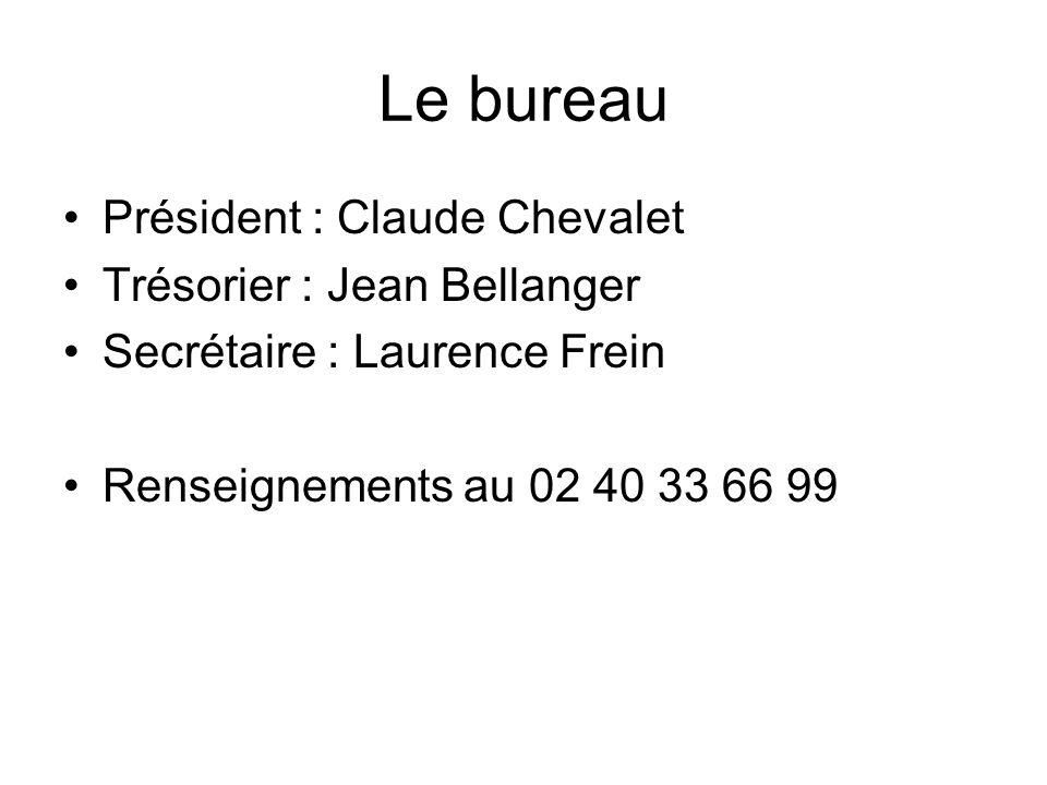 Le bureau Président : Claude Chevalet Trésorier : Jean Bellanger Secrétaire : Laurence Frein Renseignements au 02 40 33 66 99