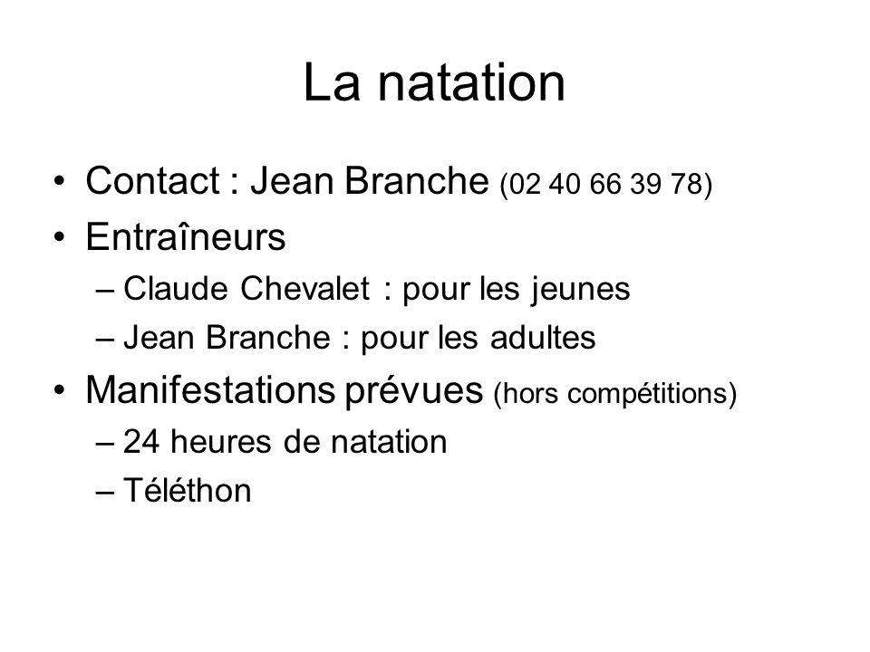 La natation Contact : Jean Branche (02 40 66 39 78) Entraîneurs –Claude Chevalet : pour les jeunes –Jean Branche : pour les adultes Manifestations prévues (hors compétitions) –24 heures de natation –Téléthon