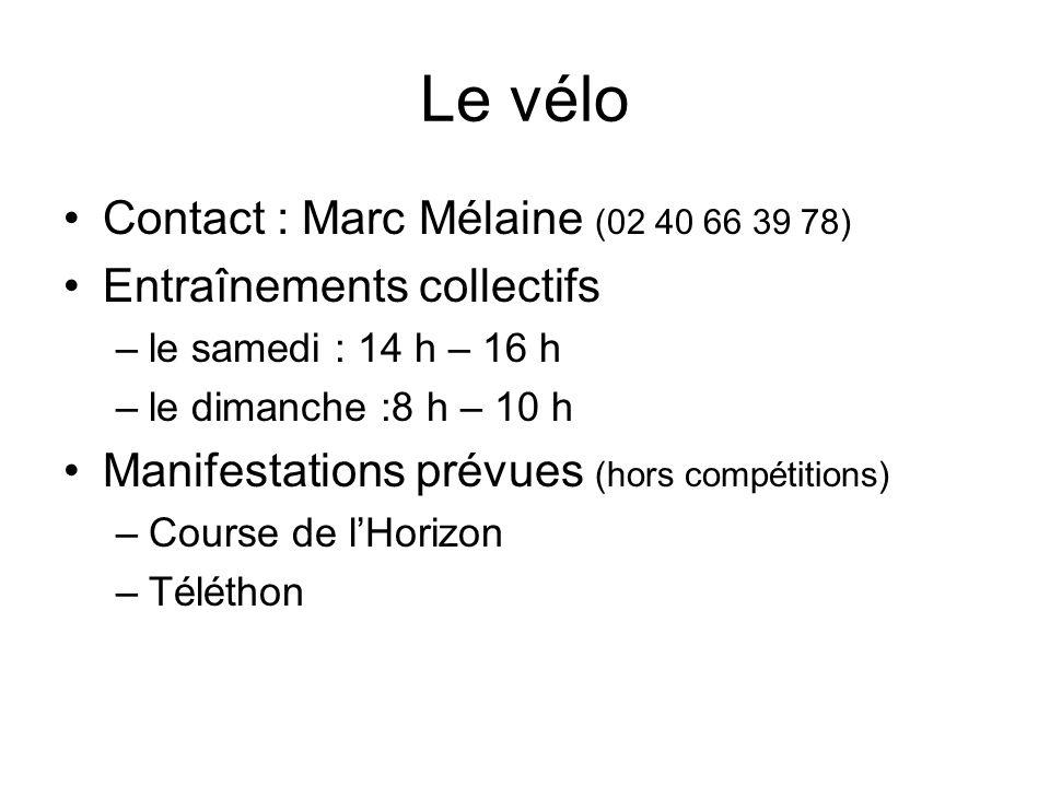 Le vélo Contact : Marc Mélaine (02 40 66 39 78) Entraînements collectifs –le samedi : 14 h – 16 h –le dimanche :8 h – 10 h Manifestations prévues (hors compétitions) –Course de lHorizon –Téléthon