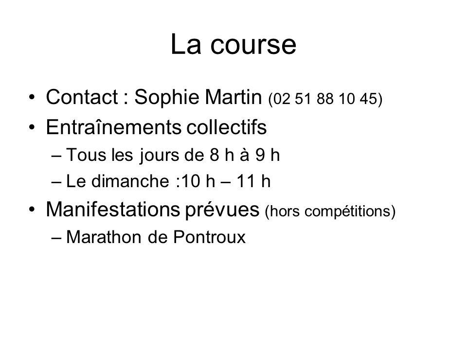 La course Contact : Sophie Martin (02 51 88 10 45) Entraînements collectifs –Tous les jours de 8 h à 9 h –Le dimanche :10 h – 11 h Manifestations prévues (hors compétitions) –Marathon de Pontroux