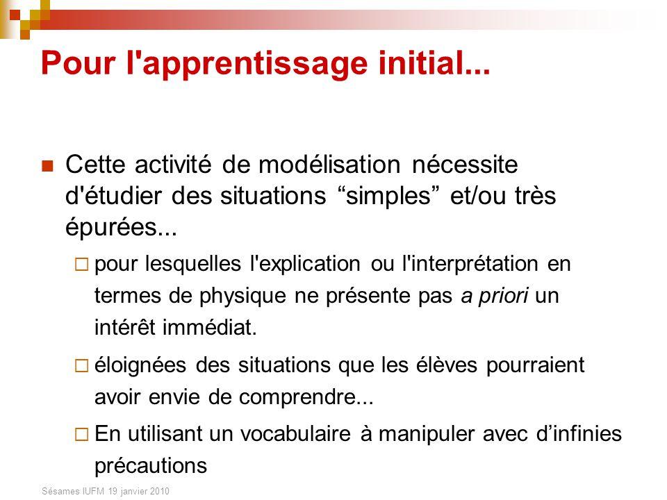 Sésames IUFM 19 janvier 2010 Pour l apprentissage initial...
