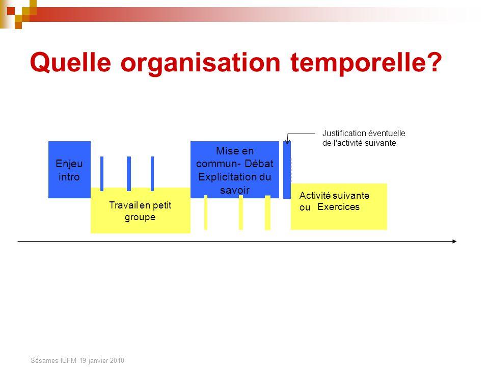 Sésames IUFM 19 janvier 2010 Quelle organisation temporelle? Enjeu intro Travail en petit groupe Mise en commun- Débat Explicitation du savoir Justifi
