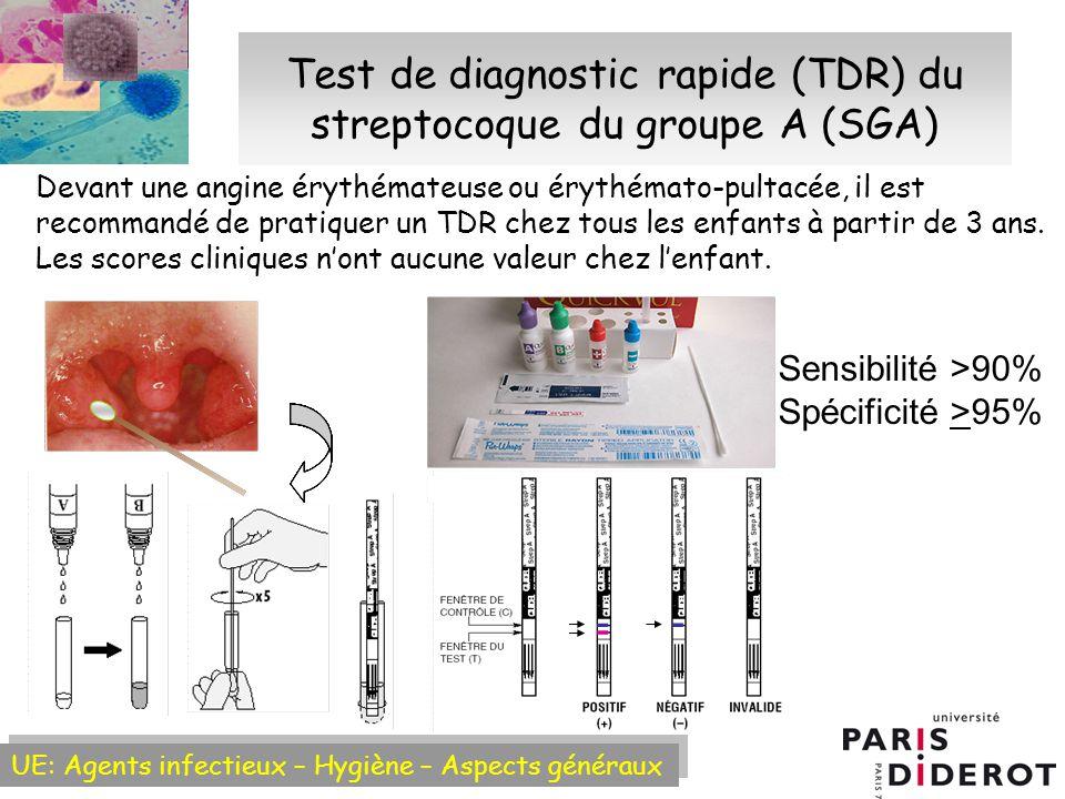 UE: Agents infectieux – Hygiène – Aspects généraux Test de diagnostic rapide (TDR) du streptocoque du groupe A (SGA) Devant une angine érythémateuse ou érythémato-pultacée, il est recommandé de pratiquer un TDR chez tous les enfants à partir de 3 ans.