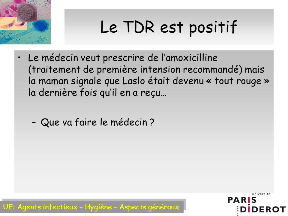UE: Agents infectieux – Hygiène – Aspects généraux Le TDR est positif Le médecin veut prescrire de lamoxicilline (traitement de première intension recommandé) mais la maman signale que Laslo était devenu « tout rouge » la dernière fois quil en a reçu… –Que va faire le médecin ?