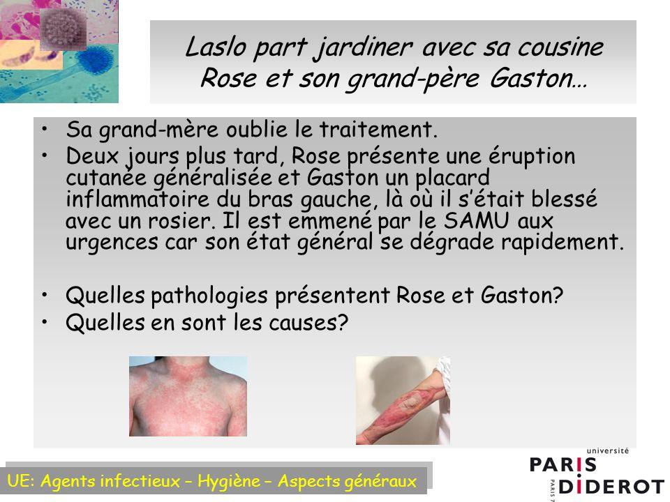 UE: Agents infectieux – Hygiène – Aspects généraux Laslo part jardiner avec sa cousine Rose et son grand-père Gaston… Sa grand-mère oublie le traitement.