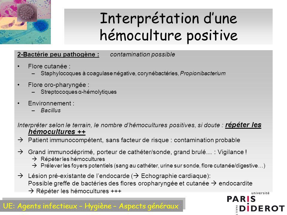 UE: Agents infectieux – Hygiène – Aspects généraux Interprétation dune hémoculture positive 2-Bactérie peu pathogène : contamination possible Flore cutanée : –Staphylocoques à coagulase négative, corynébactéries, Propionibacterium Flore oro-pharyngée : –Streptocoques α-hémolytiques Environnement : –Bacillus Interpréter selon le terrain, le nombre dhémocultures positives, si doute : répéter les hémocultures ++ Patient immunocompétent, sans facteur de risque : contamination probable Grand immunodéprimé, porteur de cathéter/sonde, grand brulé… : Vigilance .