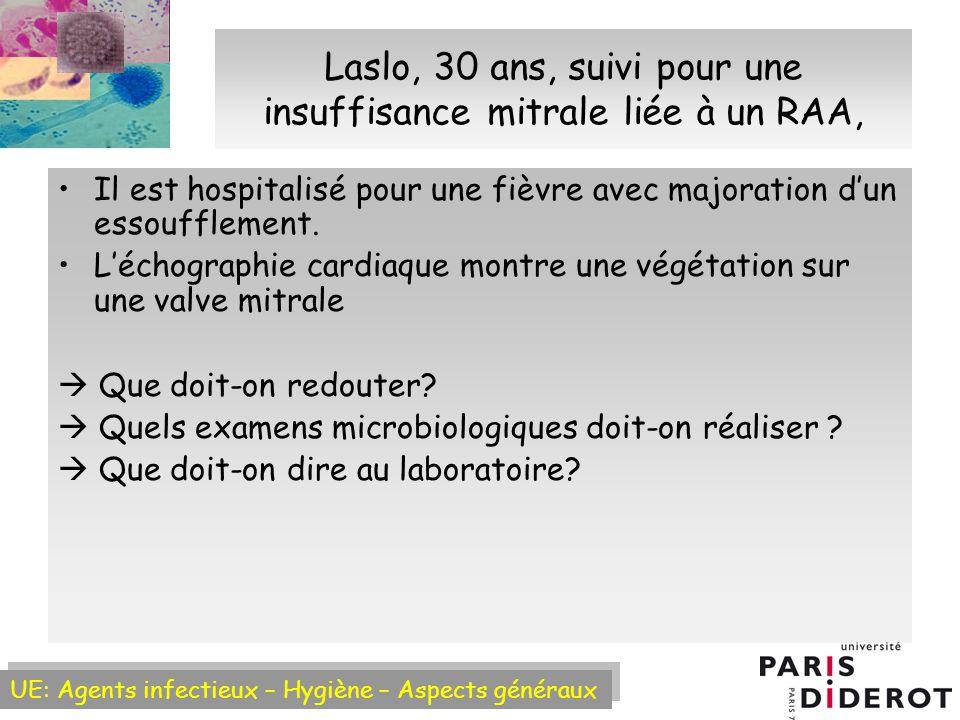 UE: Agents infectieux – Hygiène – Aspects généraux Laslo, 30 ans, suivi pour une insuffisance mitrale liée à un RAA, Il est hospitalisé pour une fièvre avec majoration dun essoufflement.