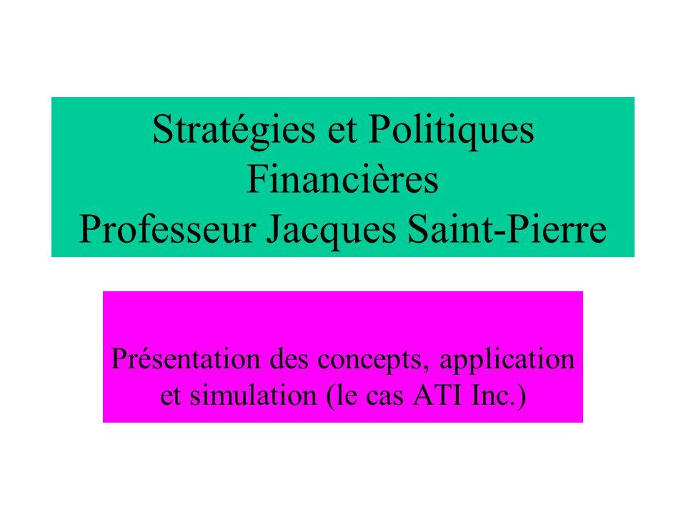 Stratégies et Politiques Financières Professeur Jacques Saint-Pierre Présentation des concepts, application et simulation (le cas ATI Inc.)
