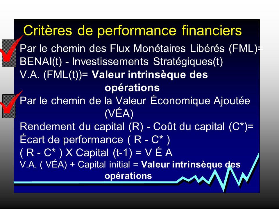 Par le chemin des Flux Monétaires Libérés (FML)= BENAI(t) - Investissements Stratégiques(t) V.A.