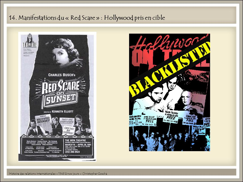 14. Manifestations du « Red Scare » : Hollywood pris en cible Histoire des relations internationales – 1945 à nos jours – Christopher Goscha