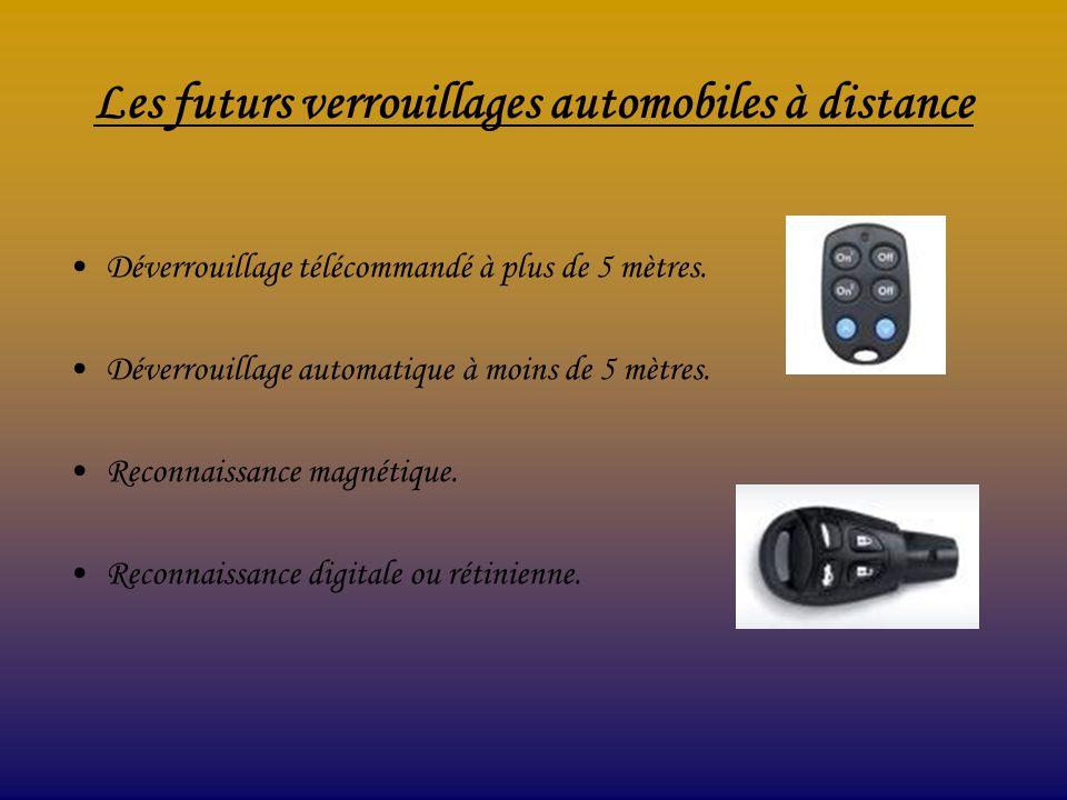 Les futurs verrouillages automobiles à distance Déverrouillage télécommandé à plus de 5 mètres. Déverrouillage automatique à moins de 5 mètres. Reconn