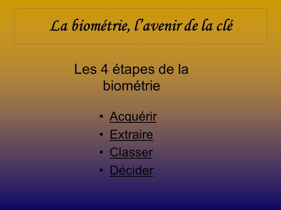 La biométrie, lavenir de la clé Acquérir Extraire Classer Décider Les 4 étapes de la biométrie