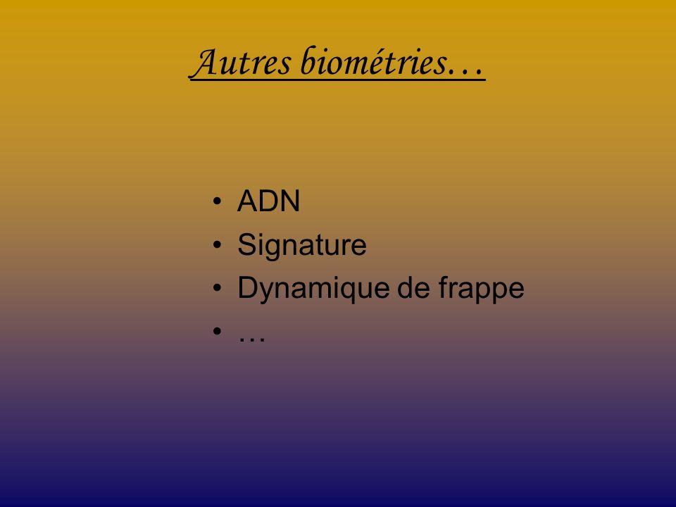 Autres biométries… ADN Signature Dynamique de frappe …