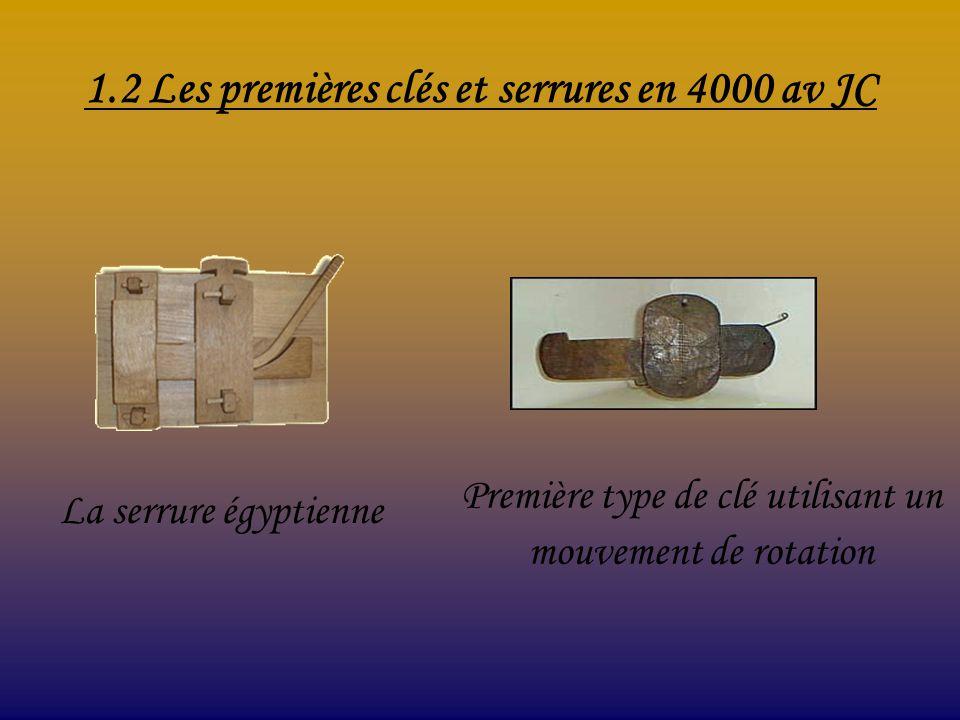 1.2 Les premières clés et serrures en 4000 av JC La serrure égyptienne Première type de clé utilisant un mouvement de rotation