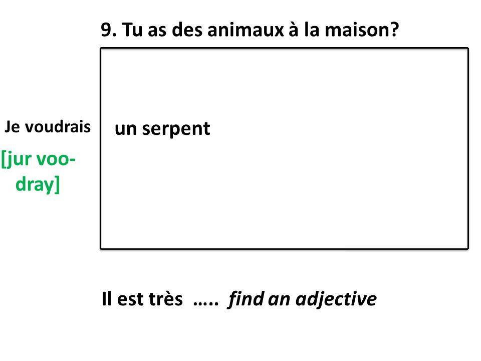 9. Tu as des animaux à la maison? [jur voo- dray] Je voudrais un serpent Il est très ….. find an adjective