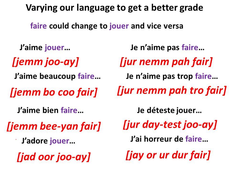Varying our language to get a better grade Jaime jouer…Je naime pas faire… Jaime beaucoup faire… Jaime bien faire… Jadore jouer… Je naime pas trop fai
